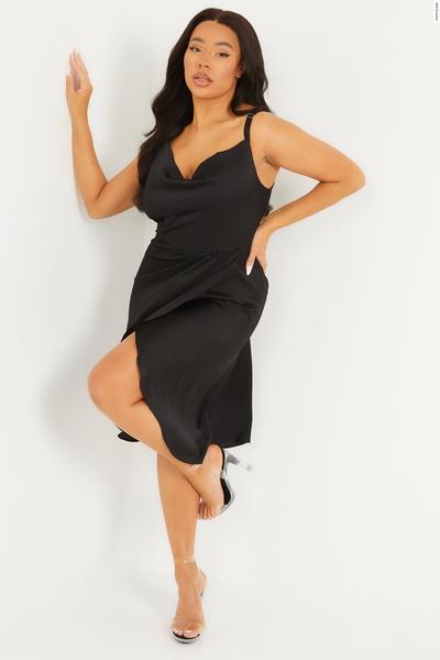 Curve Black Satin Strappy Midi Dress
